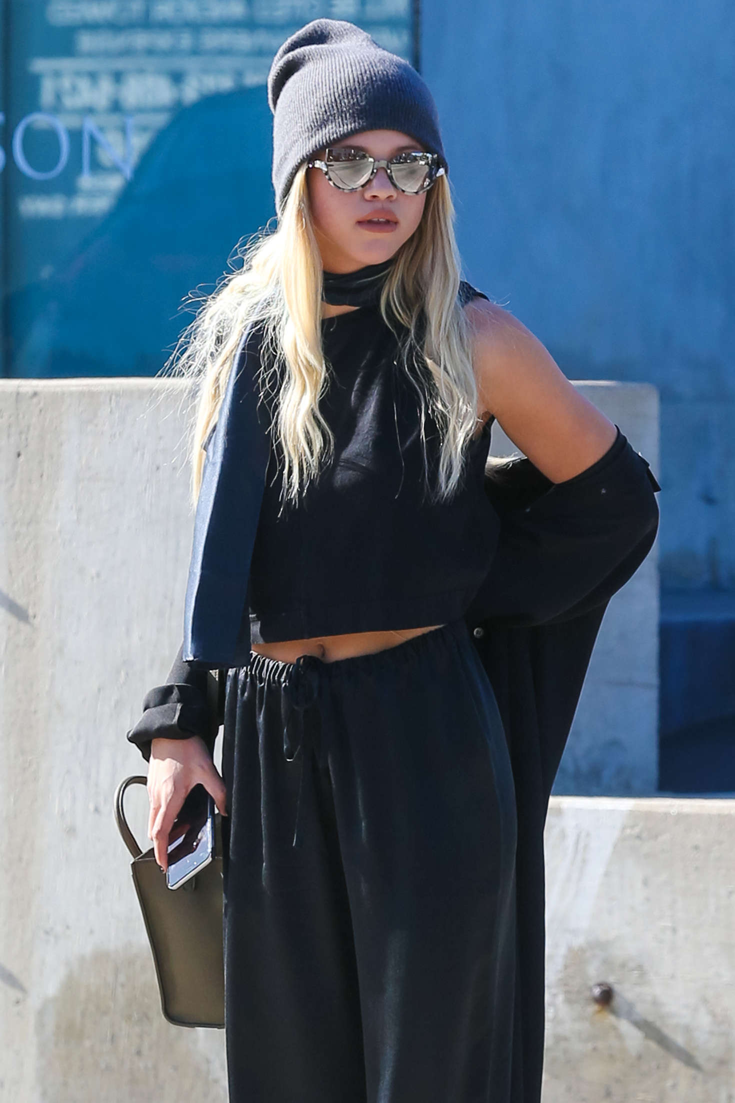Sofia Richie in Black out shopping in Beverly Hills