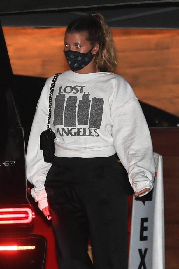 Sofia Richie - In Lost Angeles sweatshirt at Nobu in Malibu