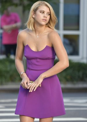 Sofia Richie in Purple Dress on a photoshoot in New York City
