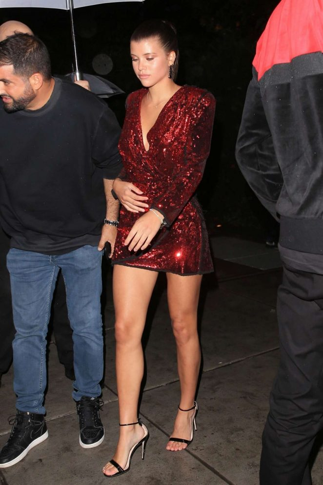 Sofia Richie in Red Mini Dress - Leaving Tommy Hilfiger's Birthday Bash in NY