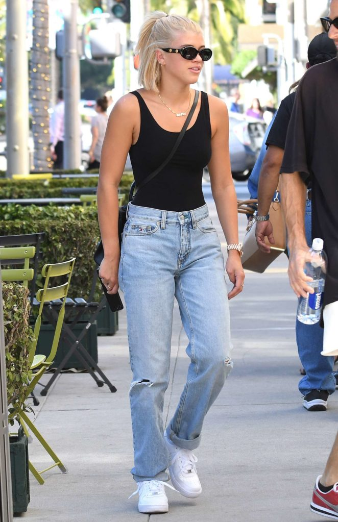 Sofia Richie in skintight black bodysuit - leaves hotel in Beverly Hills