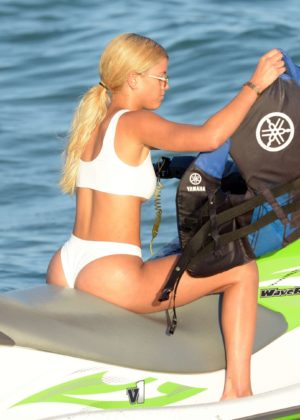 Sofia Richie - In White Bikini at Beach in Miami