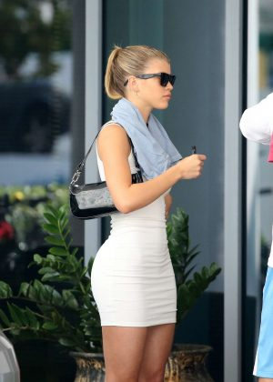 Sofia Richie in White Mini Dress – Attended a yacht show in Miami