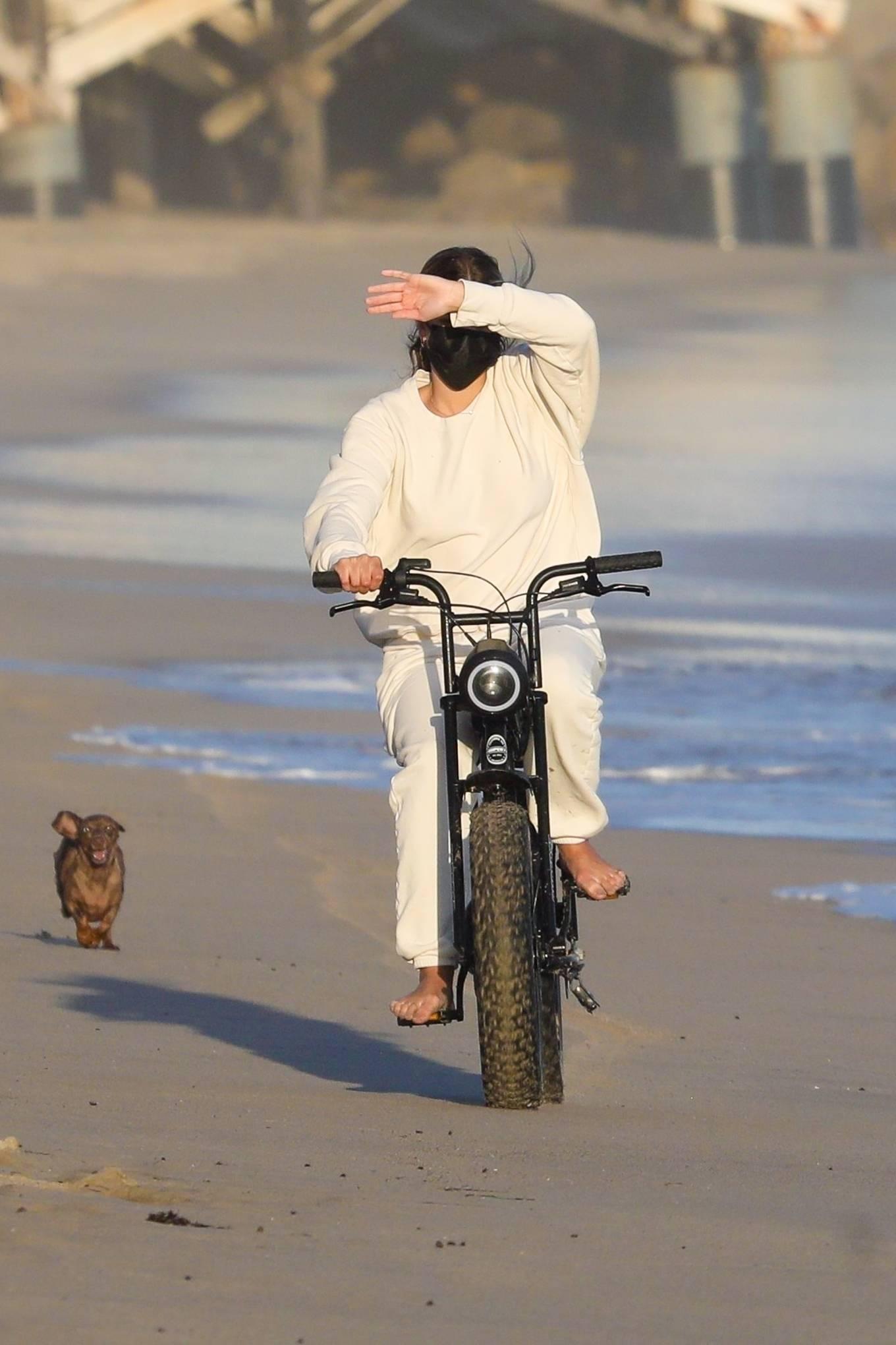 Sofia Richie 2020 : Sofia Richie – Riding motorbike on the beach in Malibu -12