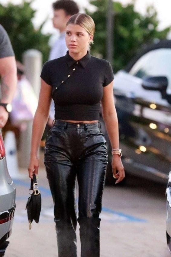 Sofia Richie - Wears leather pants while seen at Nobu in Malibu