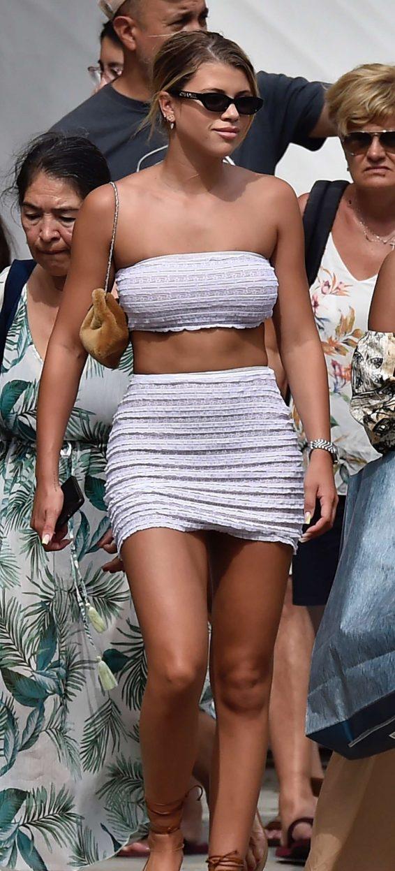 Sofia Richie - Wears white mini skirt while enjoys a day in Portofino - Italy