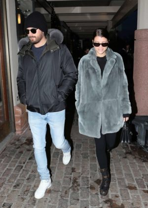 Sofia Richie with Scott Disick Out on a cold night in Aspen