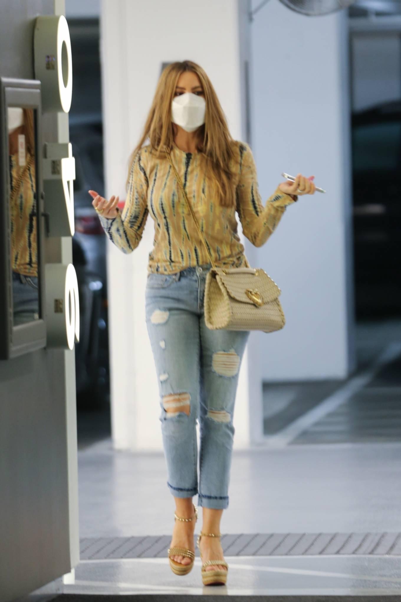 Sofia Vergara - In a ripped jeans running errands in Beverly Hills