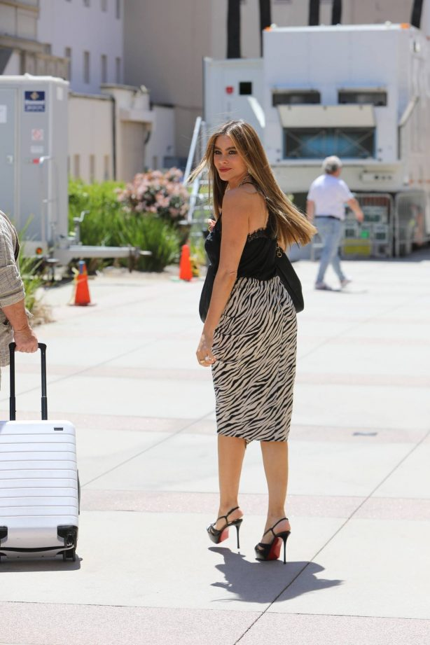 Sofia Vergara - In animal print arrives at AGT on Sunday in Los Angeles