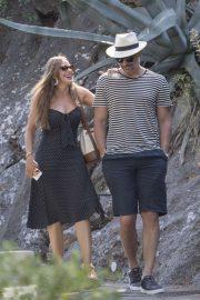 Sofia Vergara in Black Dress on vacationing in Capri