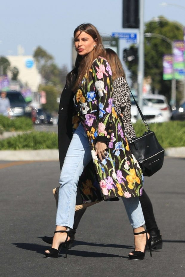 Sofia Vergara in Colorful Coat - Shopping in Weho
