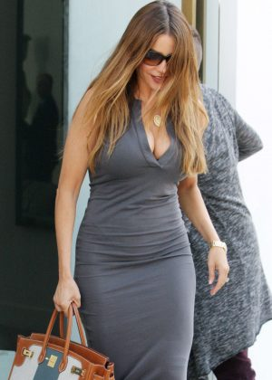 Sofia Vergara in Grey Dress Shopping in Beverly Hills