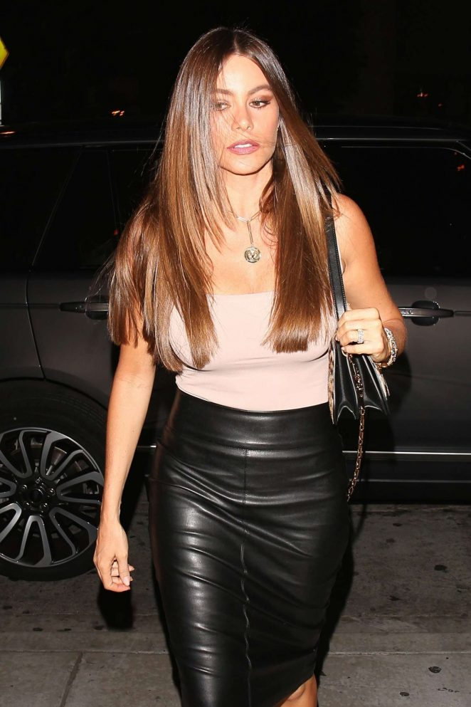 Sofia Vergara in Leather Skirt Out in West Hollywood