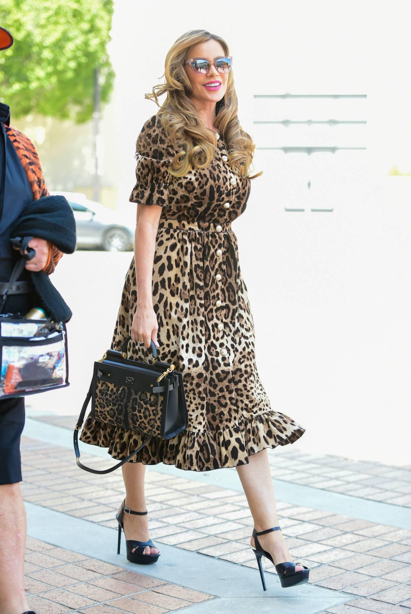 Sofia Vergara - In leopard print dress in Los Angeles