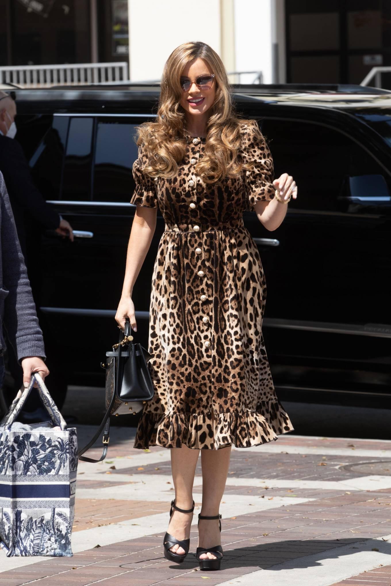 Sofia Vergara 2021 : Sofia Vergara – In leopard print dress in Los Angeles-07