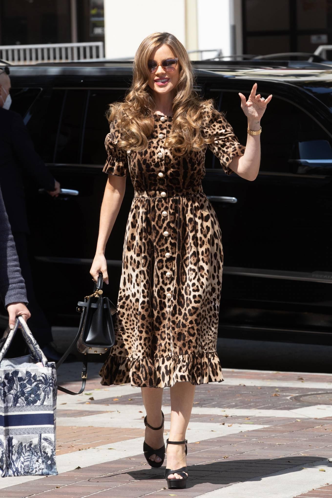 Sofia Vergara 2021 : Sofia Vergara – In leopard print dress in Los Angeles-21