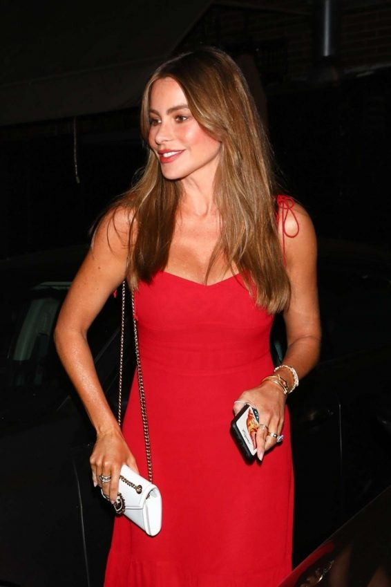 Sofia Vergara in Red Dress - Out for a dinner in Beverly Hills