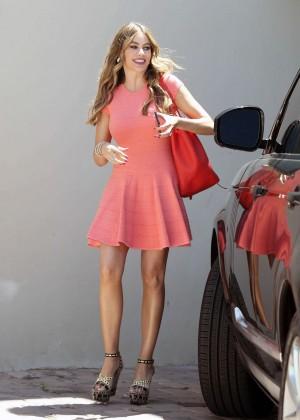 Sofia Vergara in Red Mini Dress Out in LA