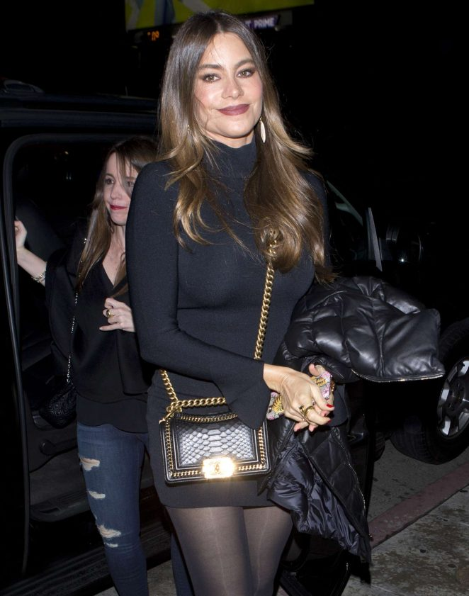 Sofia Vergara in Short Black Dress at Serafina Restaurant in West Hollywood