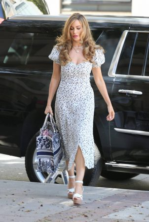 Sofia Vergara - In summer dress arriving at America's Got Talent in Los Angeles