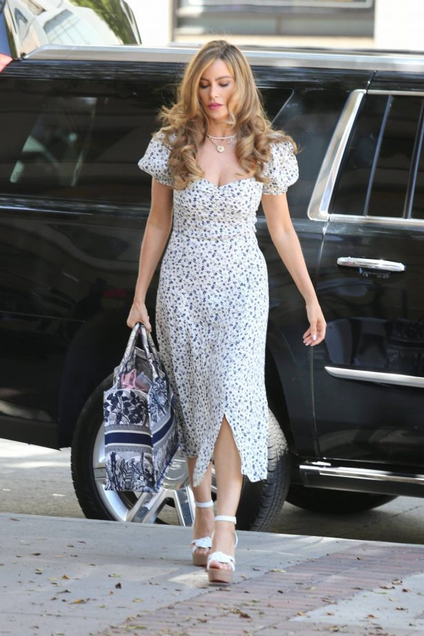 Sofia Vergara - In summer dress arriving at America's Got Talent in Los Angeles