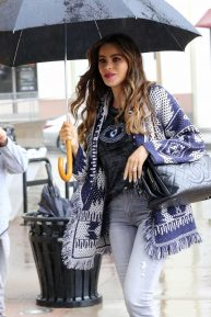 Sofia Vergara on a rainy day at America's Got Talent in Pasadena