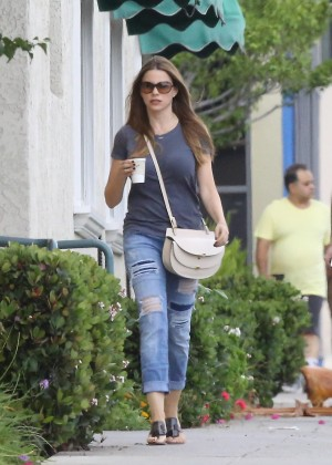 Sofia Vergara in Ripped Jeans out in Beverly Hills
