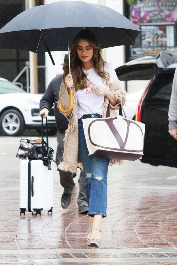 Sofia Vergara - With umbrella at America's Got Talent in Pasadena