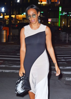 Solange Knowles in Black and White Dress out in Manhattan