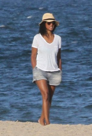 Solange Knowles in Denim Shorts at the Beach in The Hamptons