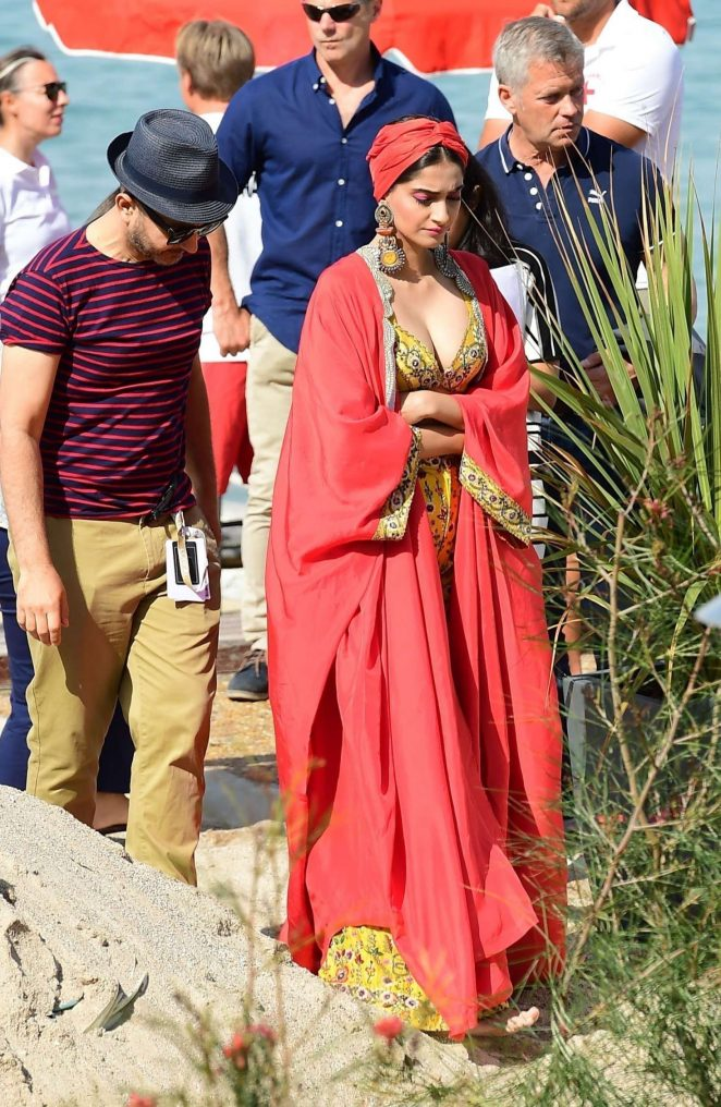 Sonam Kapoor on the beach in Cannes