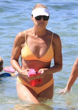 Sonia Kruger in Yellow Bikini at the beach in Sydney