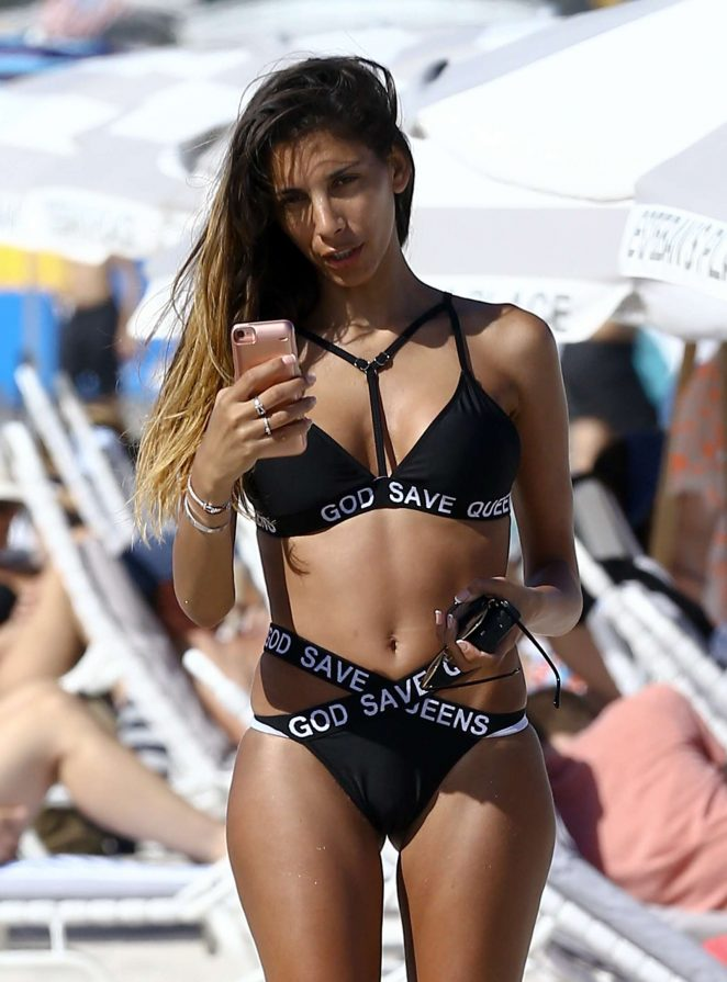 Sonia Tlev in Black Bikini on the beach in Miami