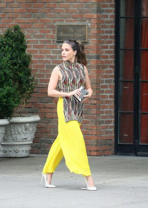 Sophia Bush in Yellow Pants out in New York