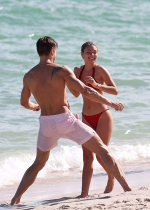 Sophia Vantuno in Red Bikini on the beach in Miami