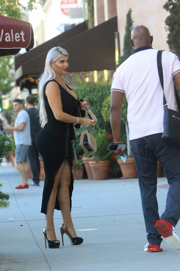 Sophia Vegas - Wearing black tight dress with her husband Daniel Charlier in Beverly Hills
