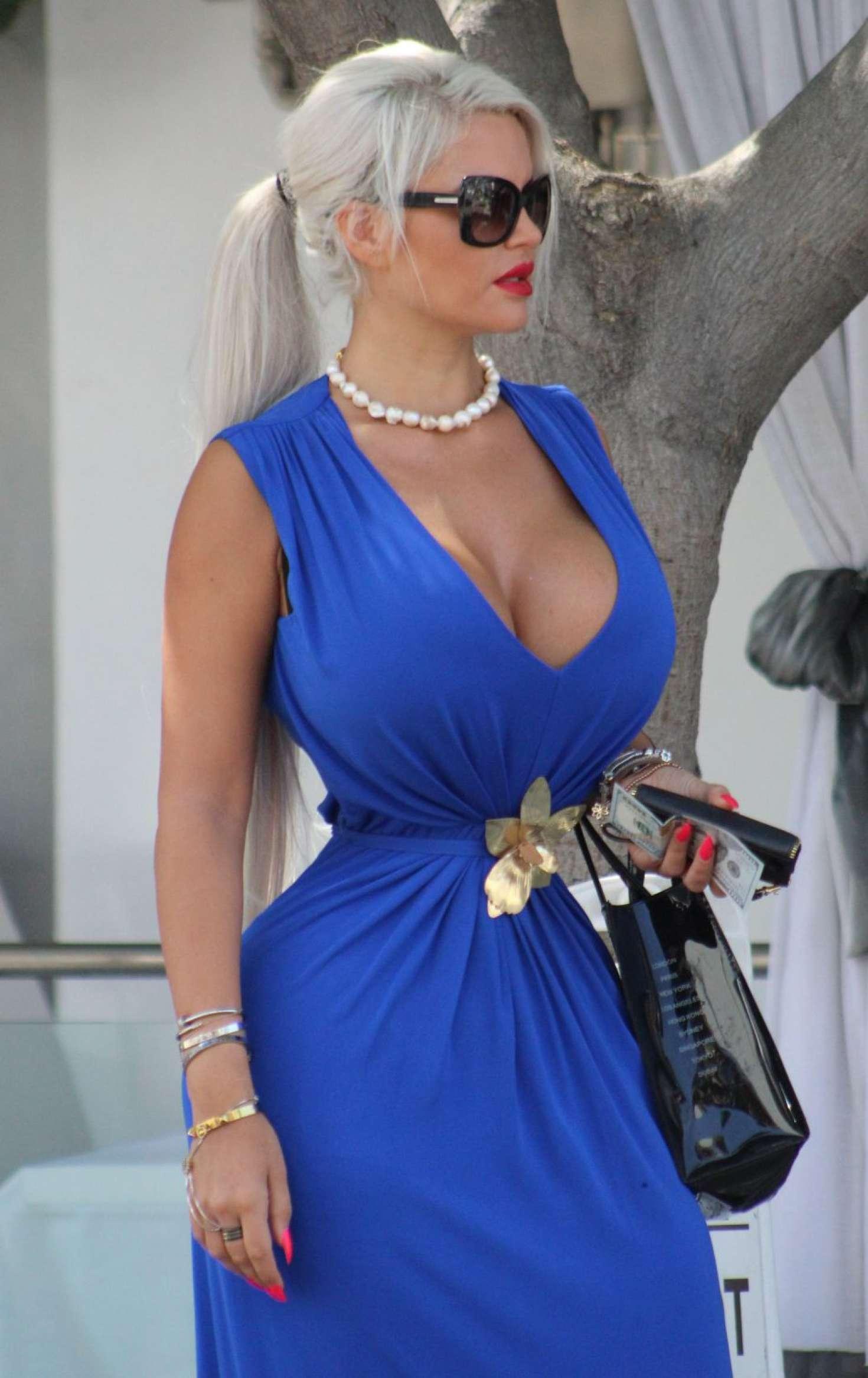 Sophia Wollersheim In Long Blue Dress Out In Los Angeles