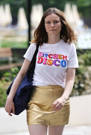 Sophie Ellis Bexter - Out in gold dress and slogan tee at Sunday Brunch TV show in London