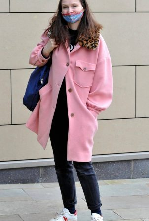 Sophie Ellis-Bextor - In a pink coat on a set of Name that Tune in Manchester