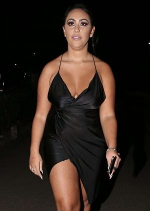 Sophie Kasaei in Black Dress out in London