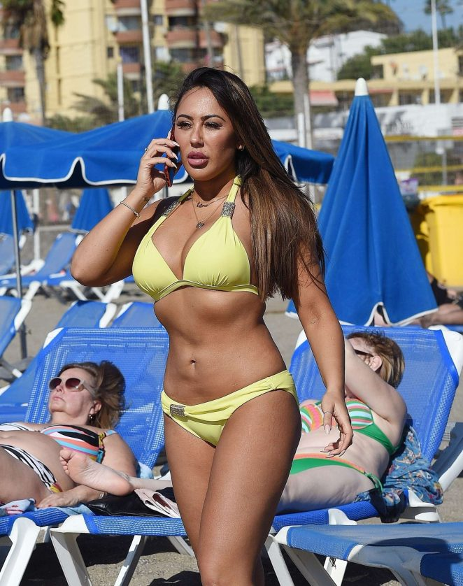 Sophie Kasaei in Yellow Bikini on holiday in Lanzarote