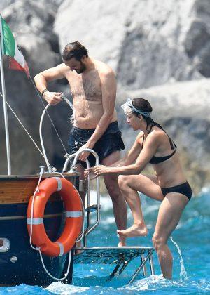 Sophie Marceau in Bikini on a yacht in Capri