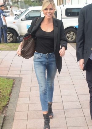 Sophie Monk - Arrives at KIIS FM in Sydney