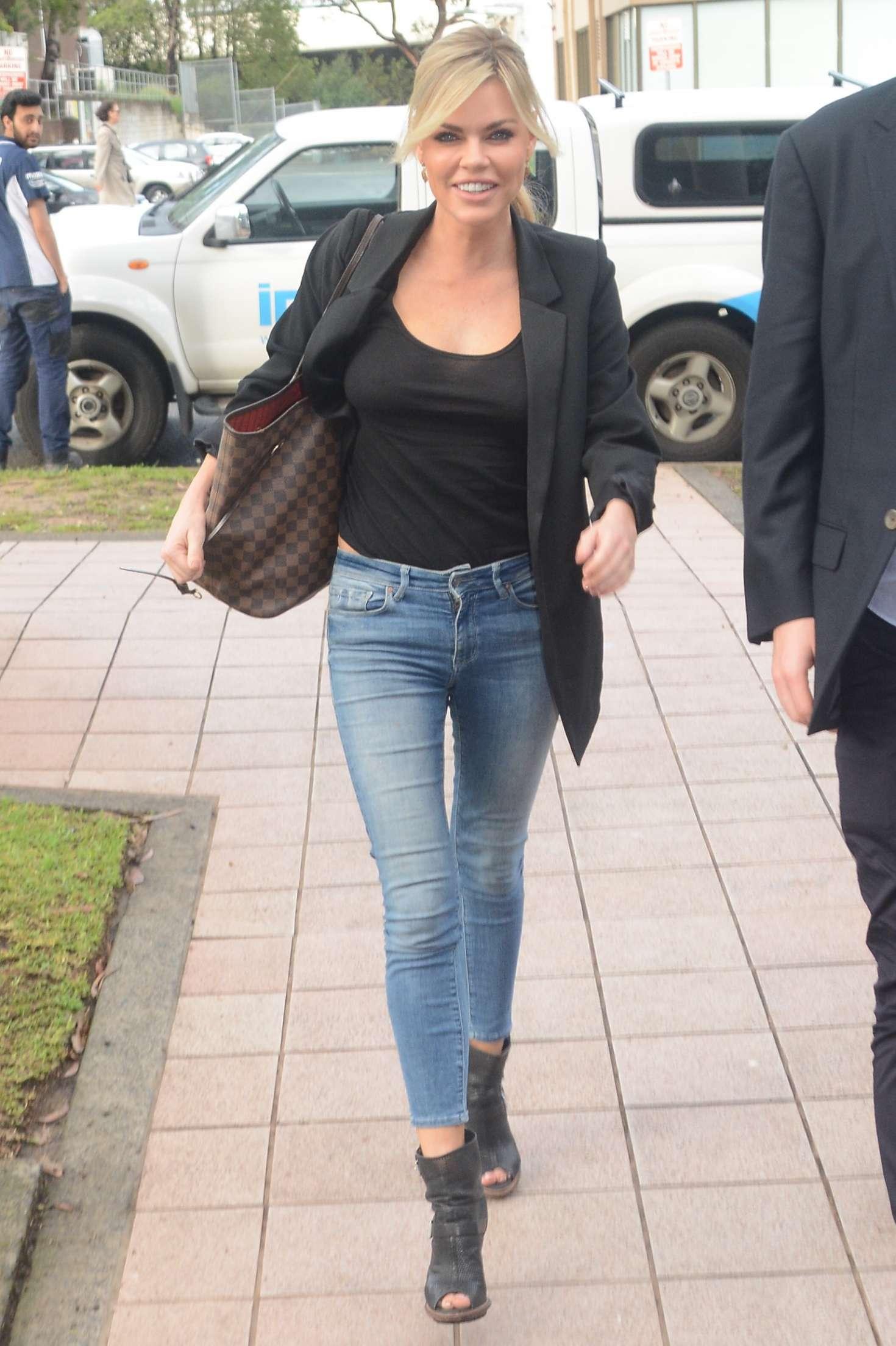 Sophie Monk - Arrives at KIIS FM in Sydney