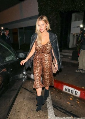Sophie Monk in Animal Print Jumpsuit at Craig's in West Hollywood