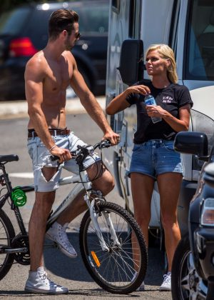 Sophie Monk & Sam Johnson filming in Cronulla