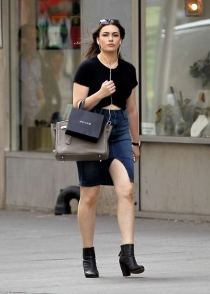 Sophie Simmons in Jeans Skirt Shopping in NY