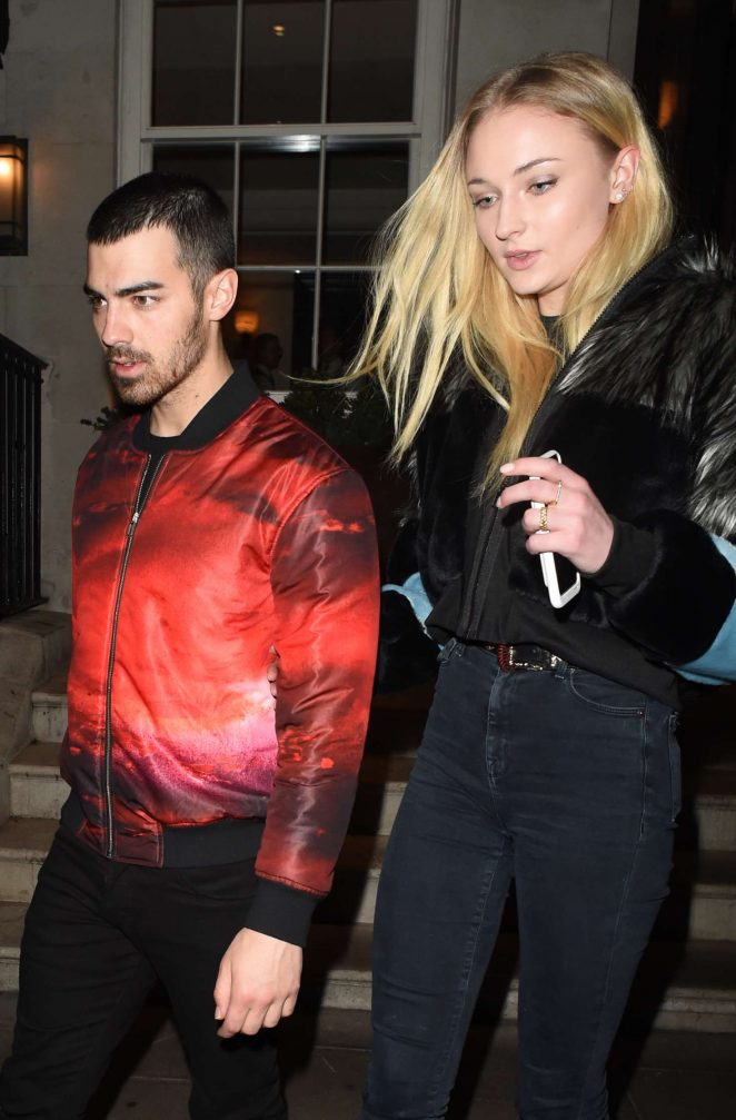 Sophie Turner and Joe Jonas at 34 restaurant in London