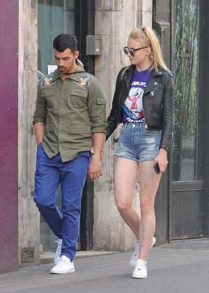 Sophie Turner and Joe Jonas at The Ivy Soho Brasserie in London