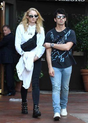 Sophie Turner and Joe Jonas at Via Alloro in Los Angeles